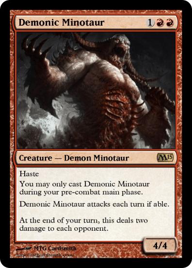 Demonic Minotaur by Tesarand | MTG Cardsmith Planeswalker Artifact