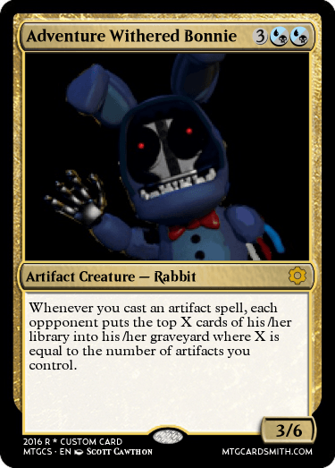 Adventure Withered Bonnie By Springtrap Mtg Cardsmith