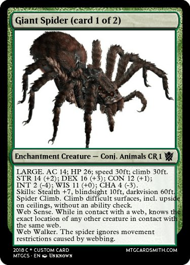 Giant Spider Card 1 Of 2 By Dru Mtg Cardsmith